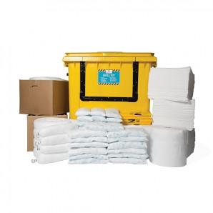 Kit d'absorbants pour hydrocarbures PIG® Essentials - Conteneur à roulettes avec avant basculant