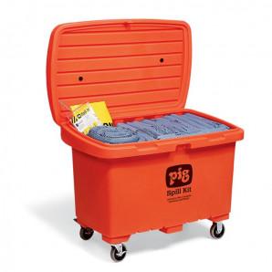 Kits pour déversements PIG dans un conteneur de stockage à haute visibilité avec des roues en caoutchouc