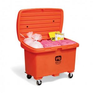 Kits pour déversements PIG dans un conteneur de stockage à haute visibilité